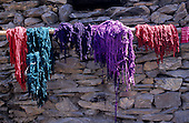 Urubamba - Quillabamba pass. Dyed wool drying outside on the top of the pass.