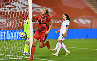 Tine De Caigny (6) of Belgium pictured celebrating after scoring a goal during a female soccer game between the national teams of Belgium , called the Red Flames and Albania in the second game in the qualification for the  FIFA Women's World Cup in group F , on tuesday 21 st of September 2021  in Brussels , Belgium . PHOTO SPORTPIX