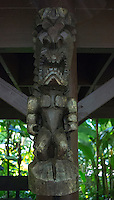 "A carved tiki of Hawaiian god ""KU"" at Hawaii Tropical Botanical Garden, Papa'ikou, Big Island of Hawaiʻi."