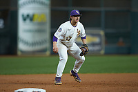 LSU Tigers third baseman Zack Mathis (17) on defense against the Texas Longhorns in game three of the 2020 Shriners Hospitals for Children College Classic at Minute Maid Park on February 28, 2020 in Houston, Texas. The Tigers defeated the Longhorns 4-3. (Brian Westerholt/Four Seam Images)