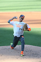 Austin Bergner (34) of the East team pitches during the 2015 Perfect Game All-American Classic at Petco Park on August 16, 2015 in San Diego, California. The East squad defeated the West, 3-1. (Larry Goren/Four Seam Images)