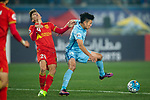 Jiangsu FC Midfielder Tao Yuan (R) fights for the ball with Adelaide United Forward Jordan O'doherty (L) that reacts during the AFC Champions League 2017 Group H match between Jiangsu FC (CHN) vs Adelaide United (AUS) at the Nanjing Olympics Sports Center on 01 March 2017 in Nanjing, China. Photo by Marcio Rodrigo Machado / Power Sport Images