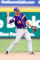 Trentt Copeland (14) of the Evansville Purple Aces throws to first base during a game against the Missouri State Bears at Hammons Field on May 12, 2012 in Springfield, Missouri. (David Welker/Four Seam Images)