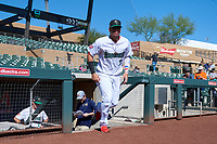 Surprise Saguaros Luis Garcia (7), of the Washington Nationals organization, jogs onto the field during player introductions before the Arizona Fall League Championship Game against the Salt River Rafters on October 26, 2019 at Salt River Fields at Talking Stick in Scottsdale, Arizona. The Rafters defeated the Saguaros 5-1. (Zachary Lucy/Four Seam Images)