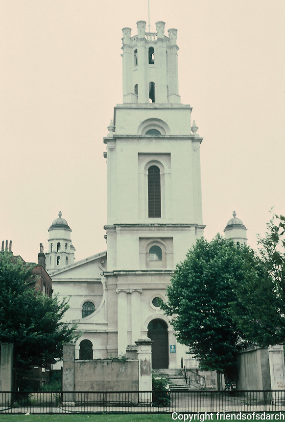 """Nicholas Hawksmoor: St. George-in-the-East, Shadwell, 1714-29. """"Now only a bombed shell"""". Photo '90."""