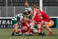 Brendan Cope of Jersey Reds is tackled during the Championship Cup Quarter final match between Ealing Trailfinders and Jersey Reds at Castle Bar , West Ealing , England  on 22 February 2020. Photo by Alan  Stanford / PRiME Media Images.