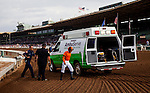 September 27 2014: Mike Smith walks under his own power to the ambulance after being involved in a spill in the Rodeo Drive Stakes at Santa Anita Park in Arcadia CA. Alex Evers/ESW/CSM