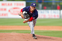 Relief pitcher Christopher Manno #17 of the Hagerstown Suns follows through on his delivery against the Rome Braves at State Mutual Stadium on May 1, 2011 in Rome, Georgia.   Photo by Brian Westerholt / Four Seam Images