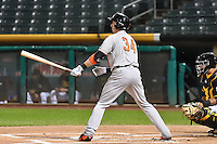 Matt Duffy (34) of the Fresno Grizzlies at bat against the Salt Lake Bees in Pacific Coast League action at Smith's Ballpark on April 13, 2016 in Salt Lake City, Utah. The Grizzlies defeated the Bees 6-0. (Stephen Smith/Four Seam Images)