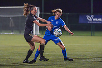 OHL's defender Sari Kees (2) and Genk's midfielder Jorien Voets (20) pictured during a female soccer game between  Racing Genk Ladies and Oud Heverlee Leuven on the fourth matchday of the 2020 - 2021 season of Belgian Scooore Womens Super League , friday 9 th of October 2020  in Genk , Belgium . PHOTO SPORTPIX.BE | SPP | STIJN AUDOOREN