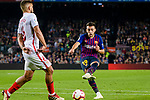 Munir El Haddadi of FC Barcelona (R) attempts a kick during the La Liga 2018-19 match between FC Barcelona and Sevilla FC at Camp Nou Stadium on October 20 2018 in Barcelona, Spain. Photo by Vicens Gimenez / Power Sport Images