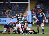 29th May 2021; Sixways Stadium, Worcester, Worcestershire, England; Premiership Rugby, Worcester Warriors versus Leicester Tigers; Ben Youngs of Leicester Tigers kicks from the base of the ruck