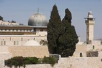 Asie/Israël/Judée/Jérusalem: lMosquée blanche et la mosquée El Aqsa à Jérusalem