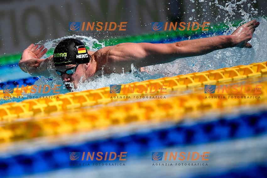 Philip Heintz of Germany competes in the men 100m butterfly  during the 58th Sette Colli Trophy International Swimming Championships at Foro Italico in Rome, June 25th, 2021. Philip Heintz placed 4th in his heat.