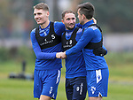 St Johnstone Training…<br />Chris Kane pictured with team mates Jason Kerr and Callum Booth during training at McDiarmid Park ahead of tomorrow's Betfred Cup game against Peterhead.<br />Picture by Graeme Hart.<br />Copyright Perthshire Picture Agency<br />Tel: 01738 623350  Mobile: 07990 594431