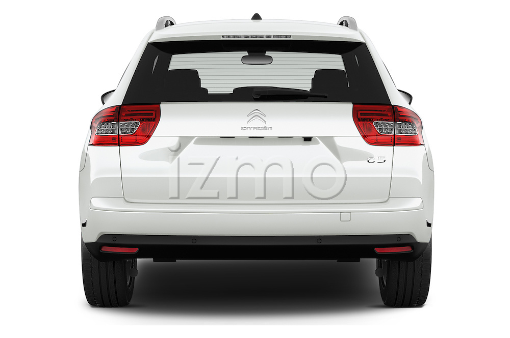 Straight rear view of 2015 Citroen C5-Tourer-XTR Hydractive-Exclusive 5 Door wagon Rear View  stock images