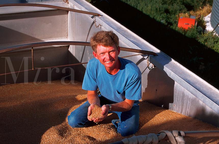 Smiling farmer holding up freshly harvested wheat.