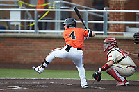 Collin Wolf (4) of the Campbell Camels at bat against the Dayton Flyers at Jim Perry Stadium on February 28, 2021 in Buies Creek, North Carolina. The Camels defeated the Flyers 11-2. (Brian Westerholt/Four Seam Images)