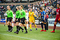 TACOMA, WA - JULY 31: Michelle Betos #1 of Racing Louisville FC and Lauren Barnes #3 of the OL Reign greet each other before a game between Racing Louisville FC and OL Reign at Cheney Stadium on July 31, 2021 in Tacoma, Washington.
