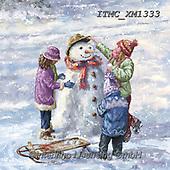 Marcello, CHRISTMAS CHILDREN, WEIHNACHTEN KINDER, NAVIDAD NIÑOS, paintings+++++,ITMCXM1333,#xk# ,playing in snow