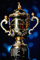 LONDON, ENGLAND - NOVEMBER 01:  The Webb Ellis cup is displayed during the World Rugby Awards 2015 at Battersea Evolution on November 1, 2015 in London, England.  (Photo: World Rugby)