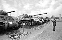 - Switzerland, the tank museum in Thun (Bern), World War II tanks: US Army Sherman and German Panzer VI auf B Tiger II (Königstiger).<br /> <br /> - Svizzera, il museo dei carri armati di Thun (Berna), carri armati della Seconda Guerra Mondiale: US Army Sherman e Panzer VI auf B Tiger II (Königstiger) tedesco.