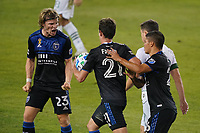 SAN JOSE, CA - SEPTEMBER 19: Carlos Fierro #21 of the San Jose Earthquakes celebrates scoring a touchdown during a game between Portland Timbers and San Jose Earthquakes at Earthquakes Stadium on September 19, 2020 in San Jose, California.
