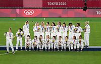 YOKOHAMA, JAPAN - AUGUST 6: The USWNT poses for a photo at International Stadium Yokohama on August 6, 2021 in Yokohama, Japan.