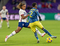 ORLANDO, FL - JANUARY 18: Catarina Macario #29 of the USWNT defends Kelly Ibarguen #2 of Colombia during a game between Colombia and USWNT at Exploria Stadium on January 18, 2021 in Orlando, Florida.