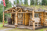 Rustic log cabin near Glennallen, Alaska.