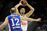 Real Madrid´s Felipe Reyes and Anadolu Efes´s Nenad Krstic during 2014-15 Euroleague Basketball Playoffs second match between Real Madrid and Anadolu Efes at Palacio de los Deportes stadium in Madrid, Spain. April 17, 2015. (ALTERPHOTOS/Luis Fernandez)