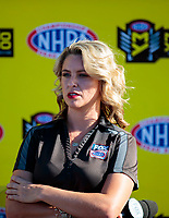 Nov 17, 2019; Pomona, CA, USA; NHRA Fox Sports 1 announcer Amanda Busick during the Auto Club Finals at Auto Club Raceway at Pomona. Mandatory Credit: Mark J. Rebilas-USA TODAY Sports