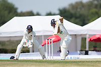 Joe Weatherley of Hampshire CCC drives through the covers on his way to an unbeaten 64 during Middlesex CCC vs Hampshire CCC, Bob Willis Trophy Cricket at Radlett Cricket Club on 11th August 2020