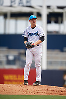 Tampa Tarpons starting pitcher Michael King (14) gets ready to deliver a pitch during a game against the Lakeland Flying Tigers on April 8, 2018 at George M. Steinbrenner Field in Tampa, Florida.  Lakeland defeated Tampa 3-1.  (Mike Janes/Four Seam Images)