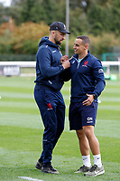 Charlie Ingall of London Scottish and Owen Nicholls during the Championship Cup match between London Scottish Football Club and Nottingham Rugby at Richmond Athletic Ground, Richmond, United Kingdom on 28 September 2019. Photo by Carlton Myrie / PRiME Media Images