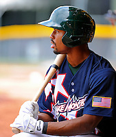 3 July 2011: Vermont Lake Monsters outfielder Xavier Macklin prepares to face the Tri-City ValleyCats at Centennial Field in Burlington, Vermont. The Lake Monsters rallied from a 6-3 deficit, scoring 4 runs in the bottom of the 9th, to defeat the ValletCats 7-6 in NY Penn League action. Mandatory Credit: Ed Wolfstein Photo