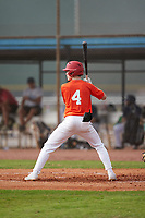 Brad Johnson (4) bats during the Perfect Game National Underclass East Showcase on January 23, 2021 at Baseball City in St. Petersburg, Florida.  (Mike Janes/Four Seam Images)