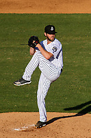 Jackson Generals pitcher Matt Peacock (43) on the mound during a Southern League game against the Biloxi Shuckers on June 13, 2019 at The Ballpark at Jackson in Jackson, Tennessee. Jackson defeated Biloxi 5-4. (Brad Krause/Four Seam Images)