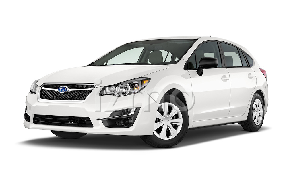 Stock pictures of low aggressive front three quarter view of a 2015 Subaru Base Impreza 5 Door Hatchback