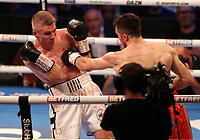 9th October 2021; M&S Bank Arena, Liverpool, England; Matchroom Boxing, Liam Smith versus Anthony Fowler; LIAM SMITH (Liverpool, England)forced back by ANTHONY FOWLER (Liverpool, England) during their WBA International Super-Welterweight Title contest