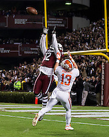 The tenth ranked South Carolina Gamecocks host the 6th ranked Clemson Tigers at Williams-Brice Stadium in Columbia, South Carolina.  USC won 31-17 for their fifth straight win over Clemson.  South Carolina Gamecocks safety Brison Williams (12) intercepts a pass in front of Clemson Tigers wide receiver Adam Humphries (13)