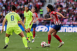 Atletico de Madrid's Dolores Isabel Jacome and FC Barcelona's Marta Torrejon during Liga Iberdrola match between Atletico de Madrid and FC Barcelona at Wanda Metropolitano Stadium in Madrid, Spain. March 17, 2019. (ALTERPHOTOS/A. Perez Meca)
