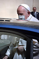 Pope Francis  from a car as he arrive to leads a limited public audience at the San Damaso courtyard in The Vatican on June 2, 2021.