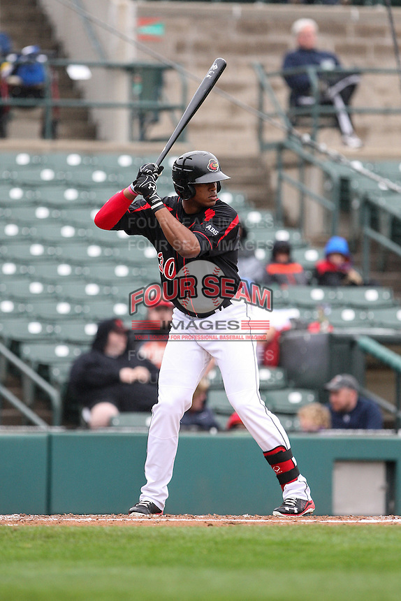 Left fielder Adam Walker (30) of the Rochester Red Wings wais for the pitch against the Scranton Wilkes-Barre Railriders on May 1, 2016 at Frontier Field in Rochester, New York. Red Wings won 1-0.  (Christopher Cecere/Four Seam Images)