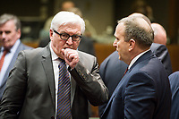 German Foreign Minister Frank Walter-Steinmeier  (L) and Grzegorz Schetyna, Polish Foreign Minister  prior to the European Union Foreign Ministers Council at EU headquarters  in Brussels, Belgium on 29.01.2015 Federica Mogherini , EU High representative for foreign policy called extraordinary meeting on the situation in Ukraine after the attack on Marioupol.  by Wiktor Dabkowski