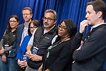 rUNITED STATES - APRIL 11: From right, Reps. Jim Himes, D-Conn., Terri Sewell, D-Ala., Ami Bera, D-Calif., Annie Kuster, D-N.H., Derek Kilmer, D-Wash., and Suzan DelBene, D-Wash., talk with the media at the House Democrats' 2019 Issues Conference at the Lansdowne Resort and Spa in Leesburg, Va., on Thursday, April 11, 2019. (Photo By Tom Williams/CQ Roll Call)
