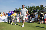 Yao Ming kicks a football at the 14th hole during the World Celebrity Pro-Am 2016 Mission Hills China Golf Tournament on 22 October 2016, in Haikou, China. Photo by Victor Fraile / Power Sport Images