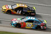 #18: Kyle Busch, Joe Gibbs Racing, Toyota Camry M&M's Hazelnut #14: Clint Bowyer, Stewart-Haas Racing, Ford Mustang Rush / Mobil Delvac 1