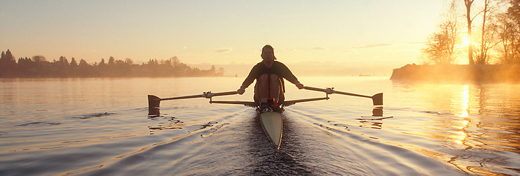 Rowing, Seattle, woman rowing single shell, Lake Washington, Seattle, Washington State, Pacific Northwest, USA, Ann Schneider, released, Pocock Rowing Foundation, High Performance Team, Panoramic .