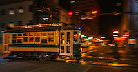 Urban Street of Memphis Tennessee, Street Photograph of a fast trolley train in downtown Memphis.<br />